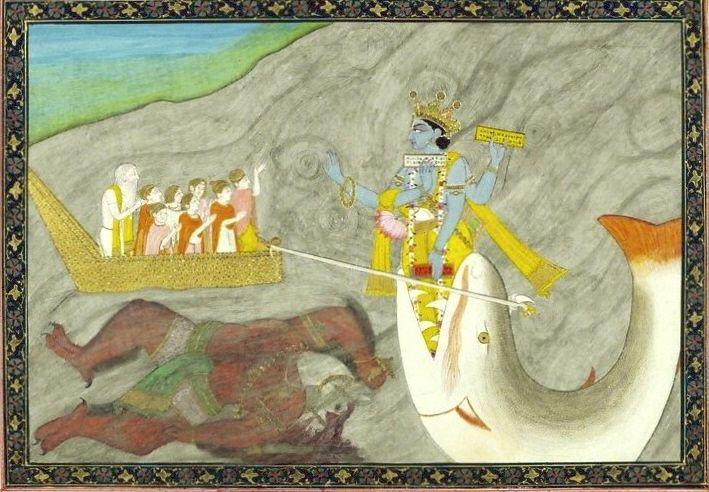 ภาพพระวิษณุในอวตารปางมัตสยาวตาร กำลังลากเรือของพระมนู ศิลปะอินเดียราวปี 1870, V& A Museum