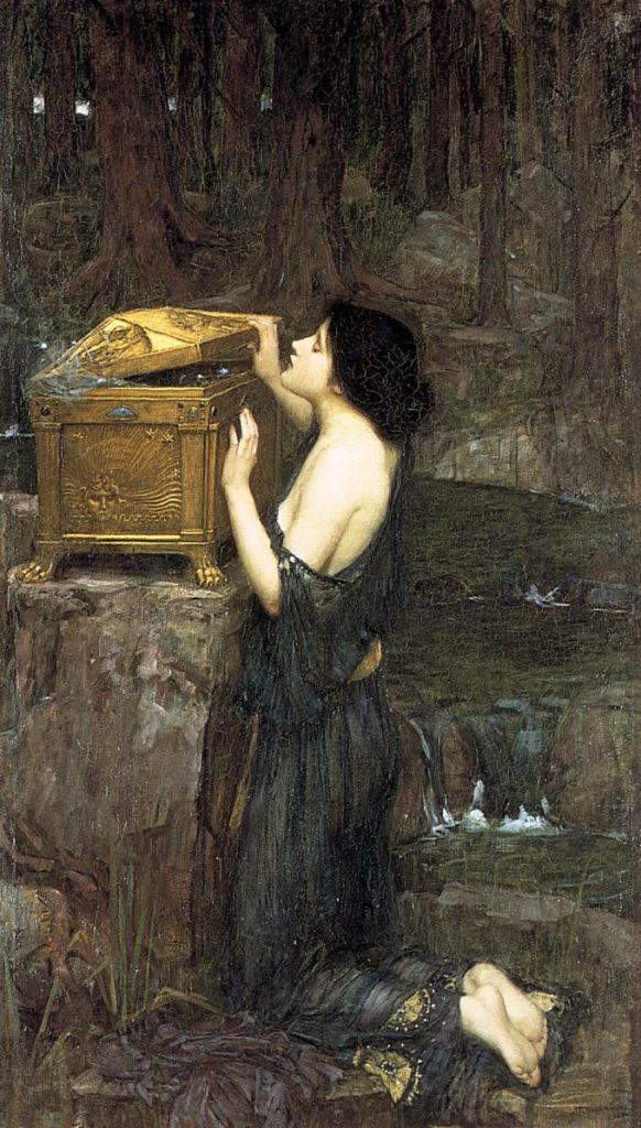 Pandora (1896) โดบ John William Waterhouse , Wikipedia