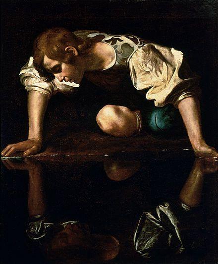 Narcissus โดย Caravaggio ให้ภาพ Narcissus กำลังจ้องมองภาพสะท้อนบนผืนน้ำของตัวเอง