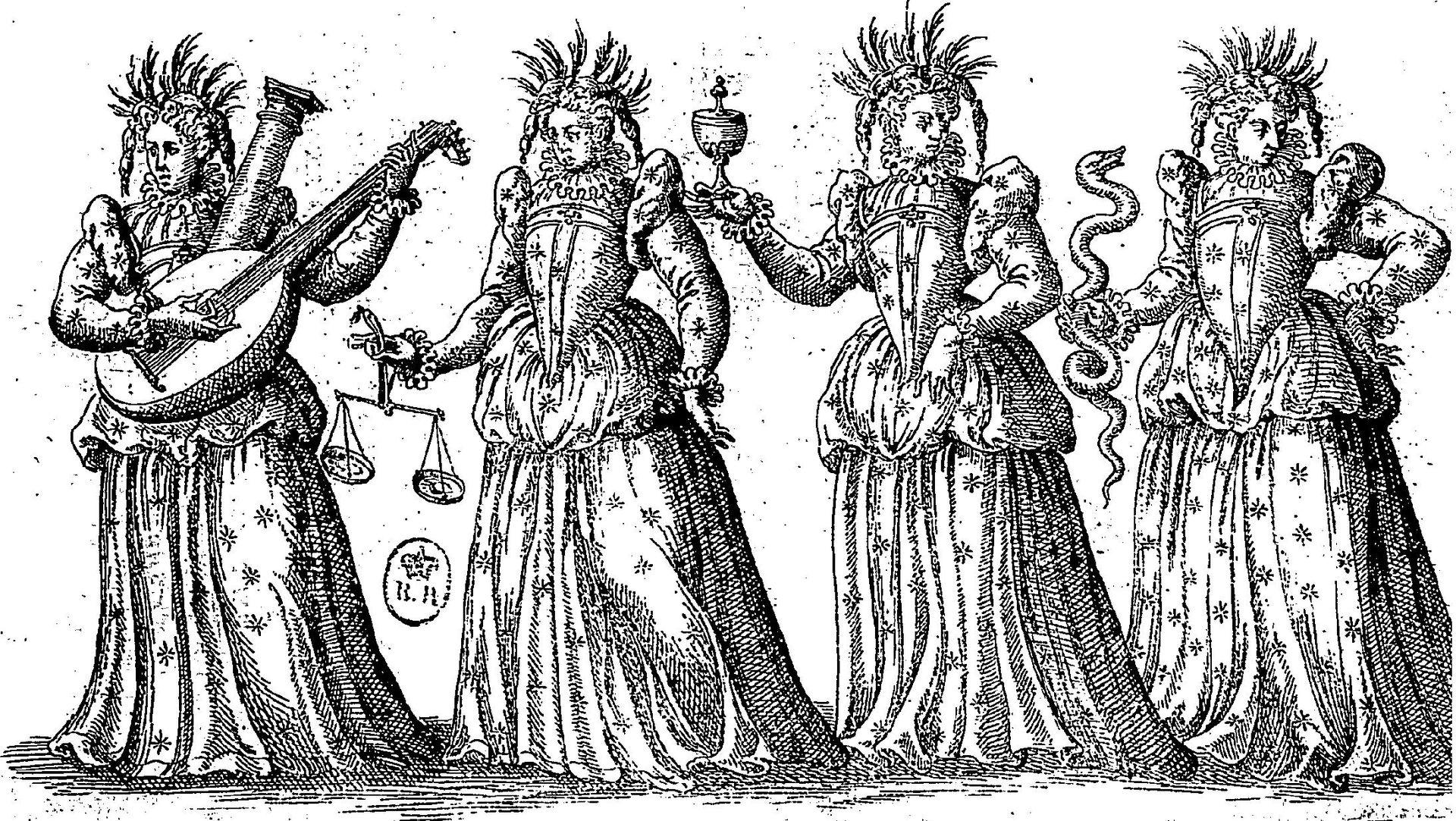 ภาพอุปลักษณ์ของคุณธรรมทั้ง 4 ประการ วาดโดย Jacques Patin ศิลปินชาวฝรั่งเศส คุณธรรมทั้ง 4 ถูกแทนด้วยภาพของสตรีสี่คนที่ถือสิ่งของแตกต่างกันออกไป เช่น ความกล้าหาญถูกแทนด้วยการแบกเสาหิน ความยุติธรรมถือตาชั่ง ความอดกลั้นมาพร้อมกับถ้วย และความถี่ถ้วนคือการระงับงูที่กำลังฉก (บางครั้งมาพร้อมกับกระจก)