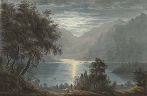 ภาพเขียนยุค Romantic จะวาดภาพธรรมชาติที่มีความสงบงาม มีความกลมเกลียวกันอย่างสมบูรณ์ ในภาพจะมีภาพมนุษย์ที่มีขนาดเล็กและดูไม่สลักสำคัญเพื่อเน้นความยิ่งใหญ่ของธรรมชาติ วาดโดย Harriet Cheney, artnet.com
