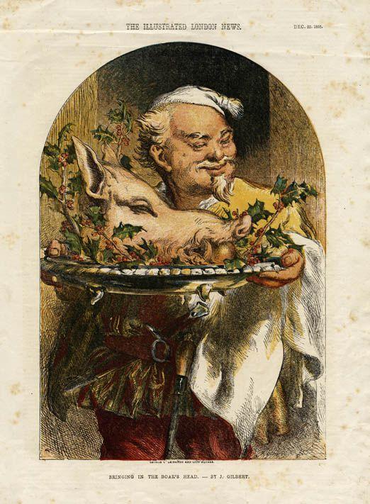 การเลี้ยงหัวหมูป่าถือเป็นการเฉลิมฉลองอย่างหนึ่ง ในหลายๆ โรงเตี้ยมและร้านอาหารใช้มีภาพหัวหมูป่าเป็นสัญลักษณ์, London News
