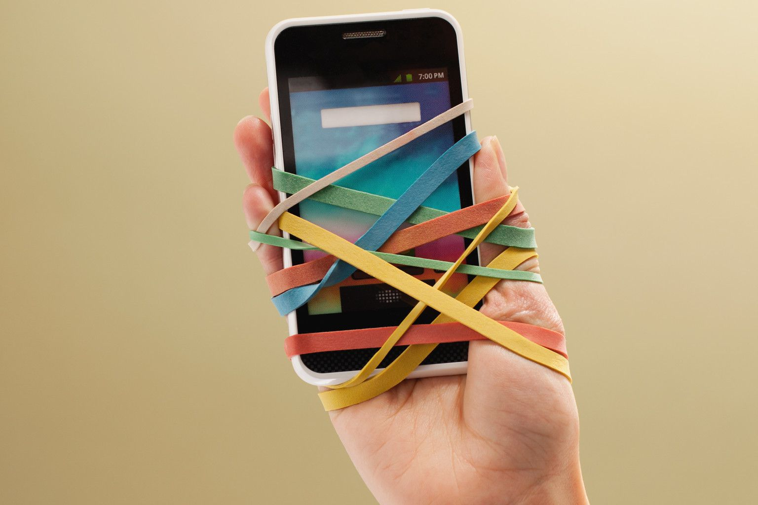 Smart phone atached to hand
