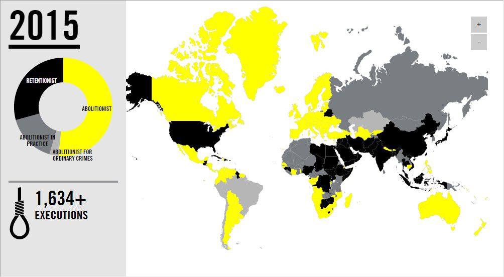 แผนที่ประเทศที่ยกเลิกหรือยังใช้โทษประหาร รายงานของ Amnesty International ประจำปี 2015