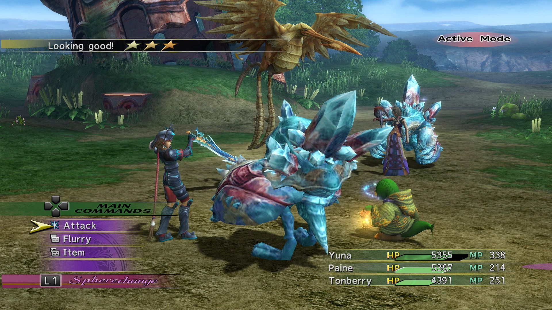 ภาพฉากการต่อสู้ของภาค FFX-2 / ภาพจาก - http://www.gamesot.com